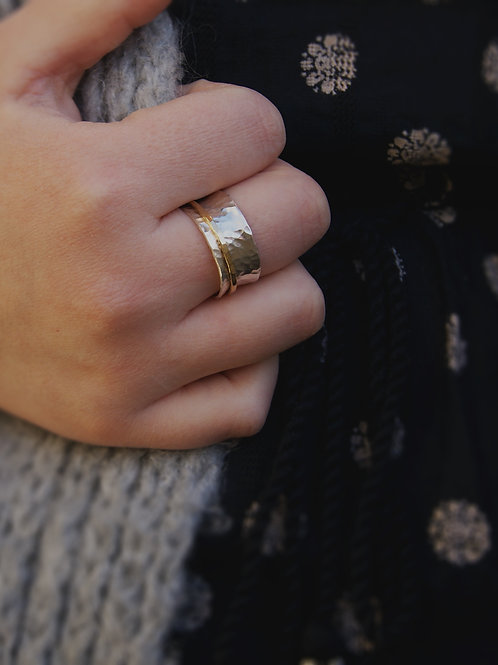 Hammered Silver Fidget Ring With Gold Spinner