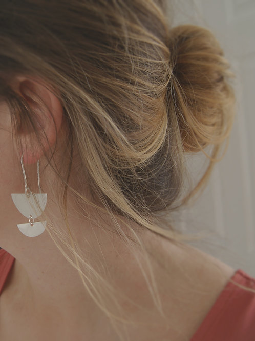 Silver Double Crescent Drop Earrings