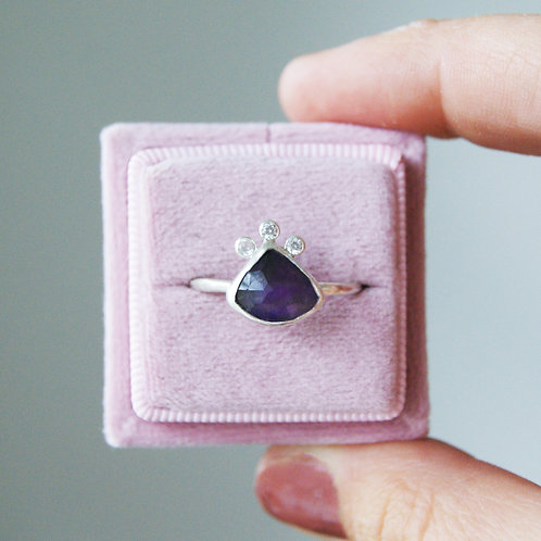 Amethyst Statement Ring in Silver