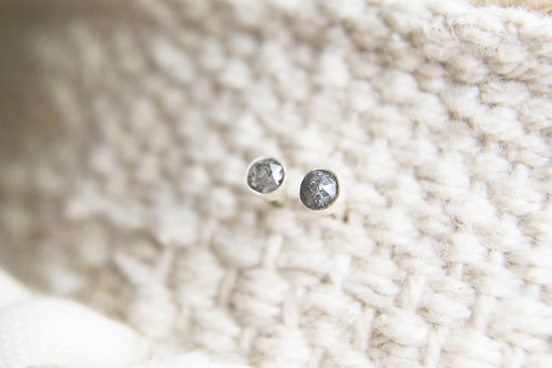 Salt and Pepper Natural Diamond Studs 4mm in Silver