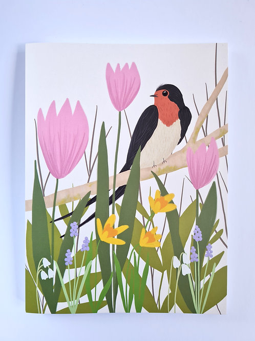 Spring Floral Swallow Notebook