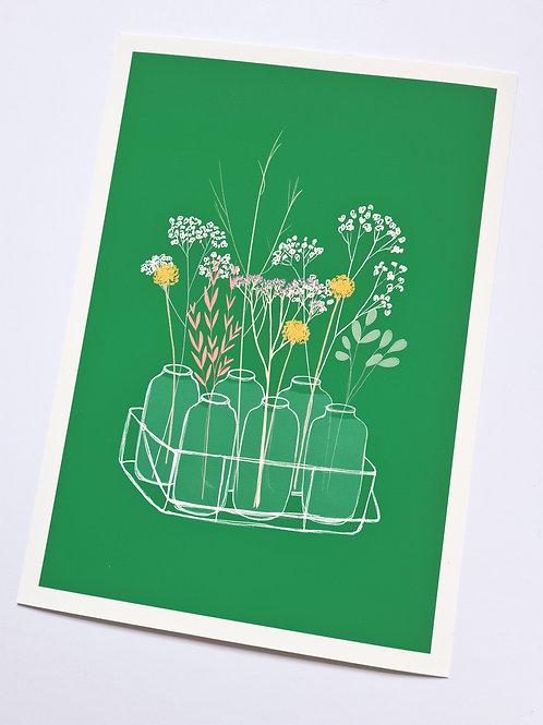 Green Spring Floral Art Print