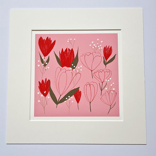 Red Tulips Floral Art Print