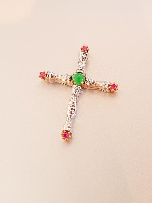 Imperial Jade, Diamond & Rubies Pendant