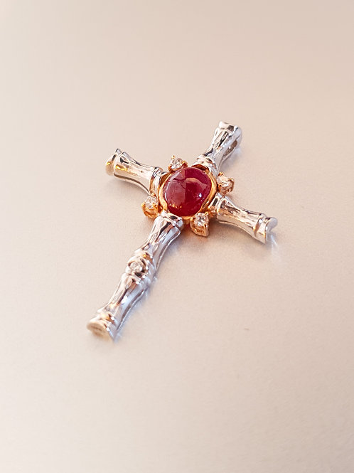 Red Ruby Diamond Pendant