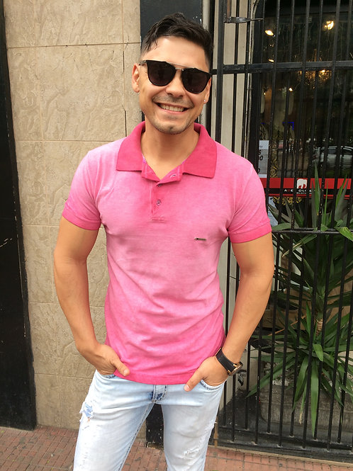 Camiseta Polo Masculina Pink