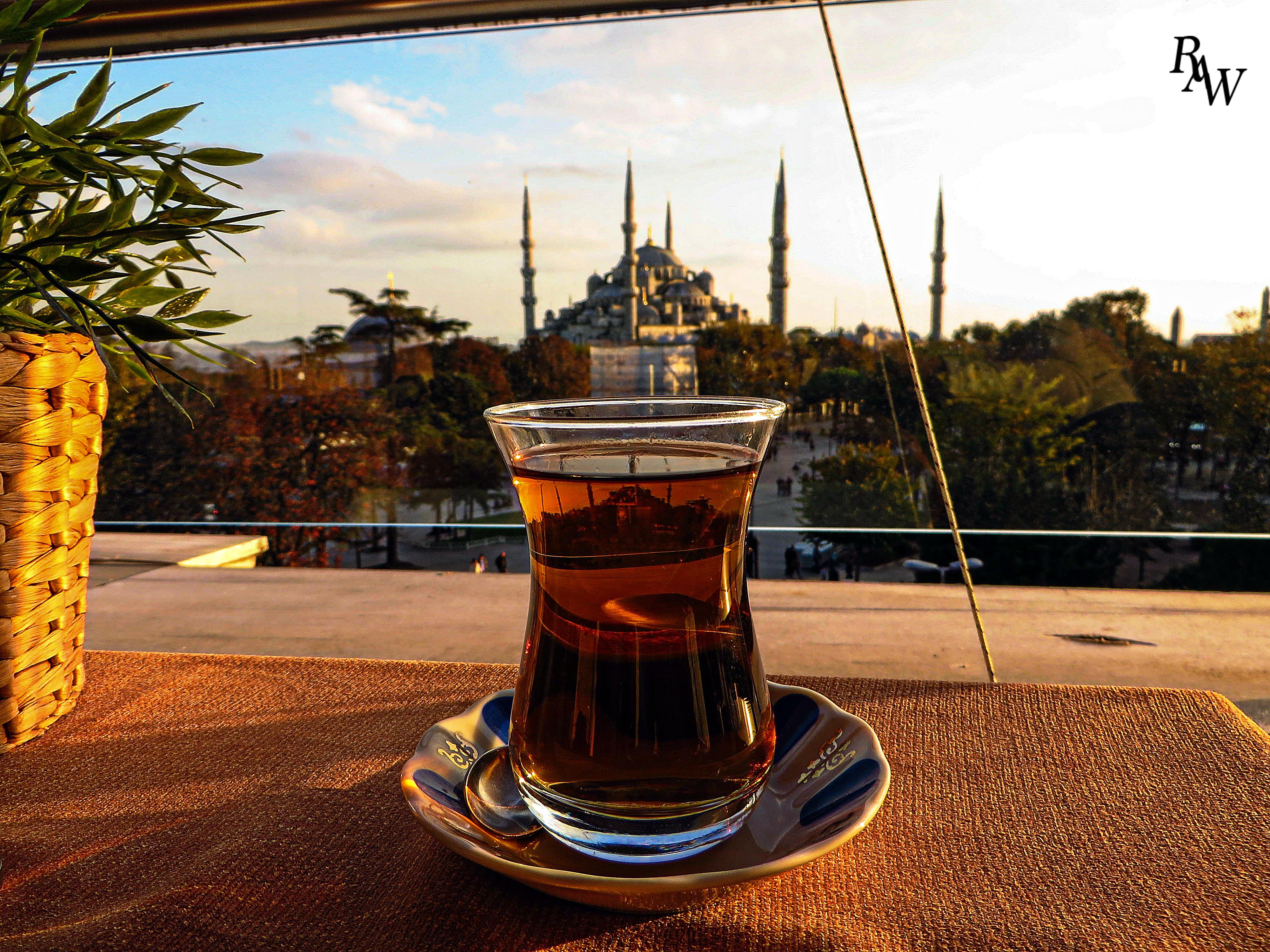 Blue Mosque Istanbul Sunset Tea