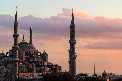 "10"" x 20"" Blue Mosque Istanbul Sunset Lustre Print"