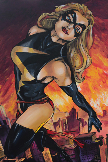 Miss Marvel. Acrílico sobre lienzo 50x70cm Disponible en Dani Alfonso Studio