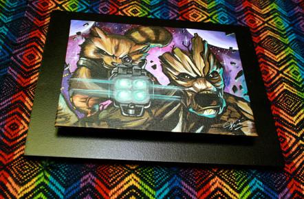 Groot y Rocket. Acrílico sobre lienzo Disponible en Ingenious Mind Store.