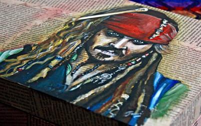 Jack Sparrow. Acrílico sobre madera y papel. Disponible en Ingenious Mind Store.