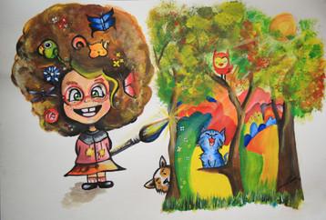 Pinta tu mundo de luz y color. Ilustración realizada para ConcursoFaber Castell Colombia. Producto temperas.