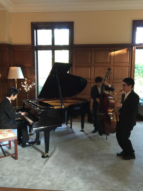 Jazz trio performance at Wheelock College
