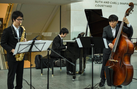 Jazz trio performance at the Museum of Fine Arts