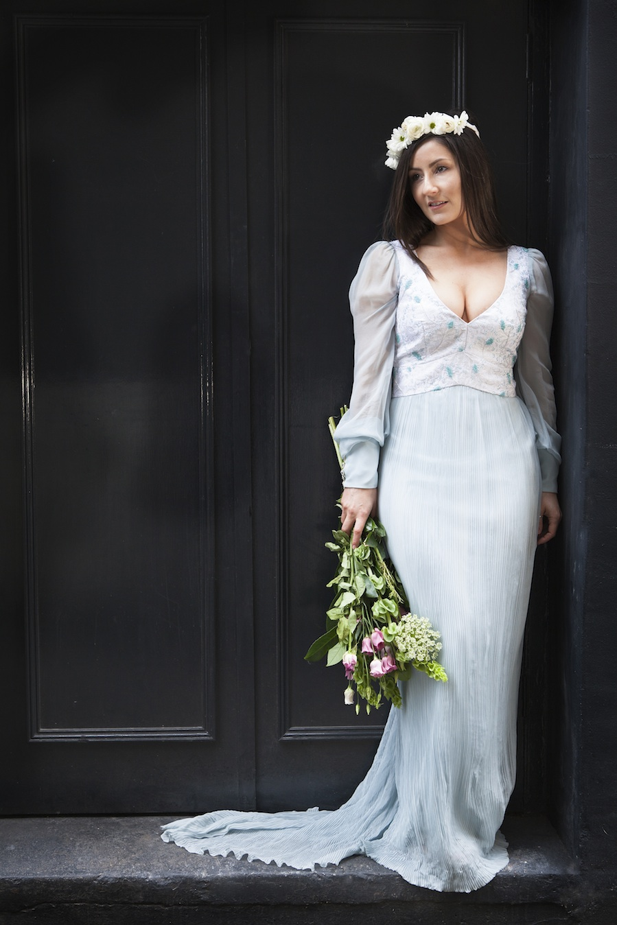 Silk&Chiffion pleated Wedding Dress