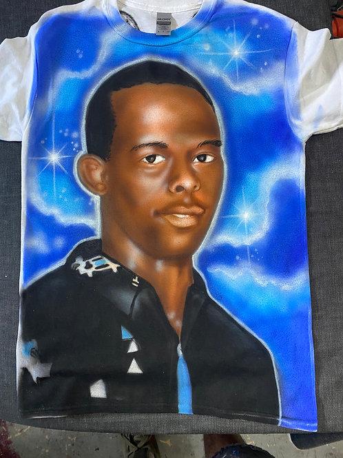 Airbrush portrait Full color  on white Tshirt