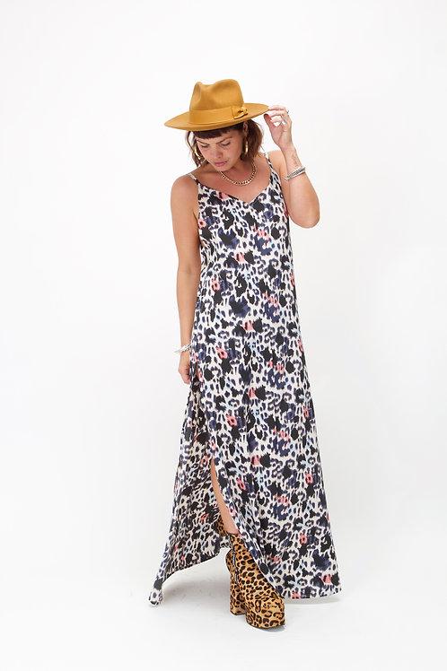 'Rita' Maxi Dress In Blue & Pink Leopard Print