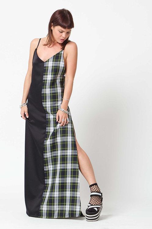 'Water Gypsy' Green Tartan & Black Satin Long Dress