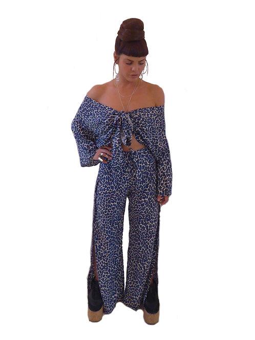Blue Leopard Print Wrap Top