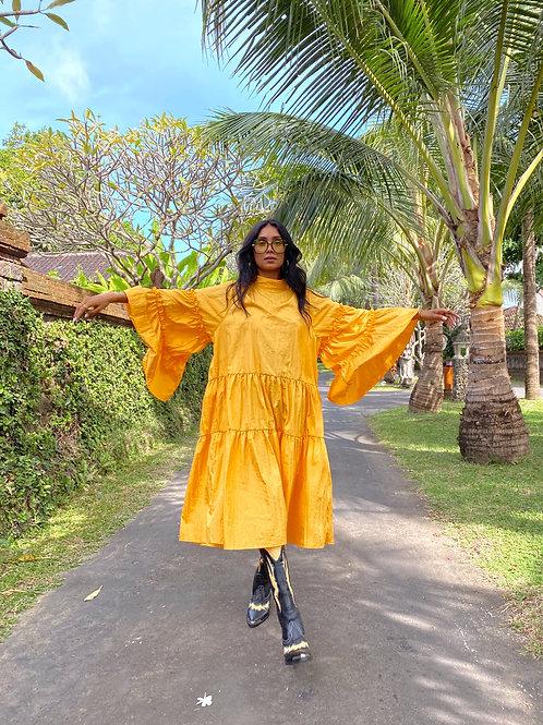 Lili Frill Midi Dress Yellow