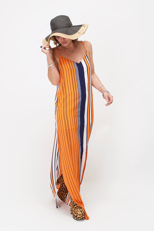 'Rita' Maxi Dress In Orange Stripe