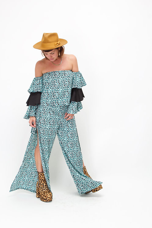 'Tallulah' Split Leg Trousers In Blue Leopard Print