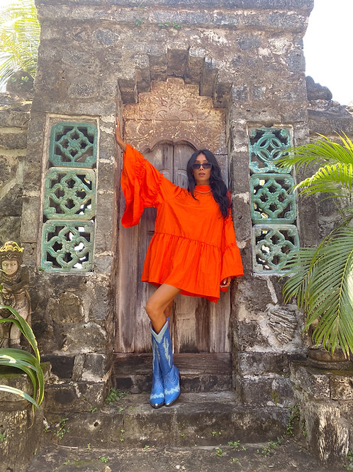 Lili Frill Mini Dress Orange