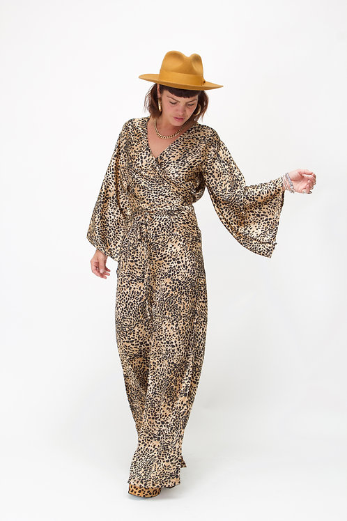 'Indra' Wrap Top With Kimono Sleeves In Cheetah Print