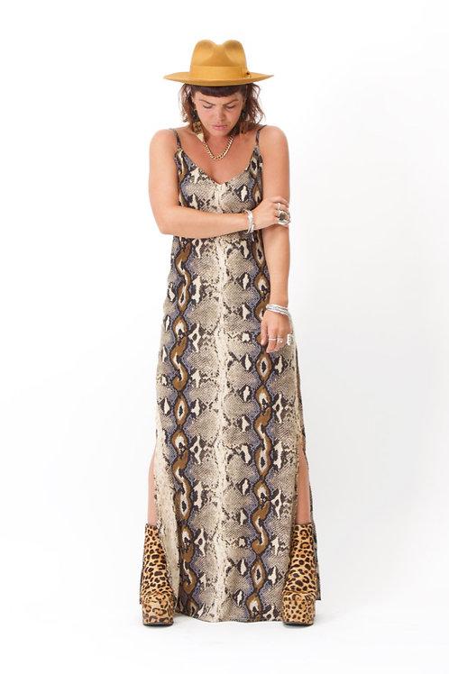 'Rita' Maxi Dress In Snake Print