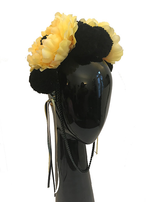 Yellow/Black Floral Head Crown