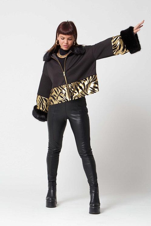 The 'Isla' Gold Metallic Reptile Jacket