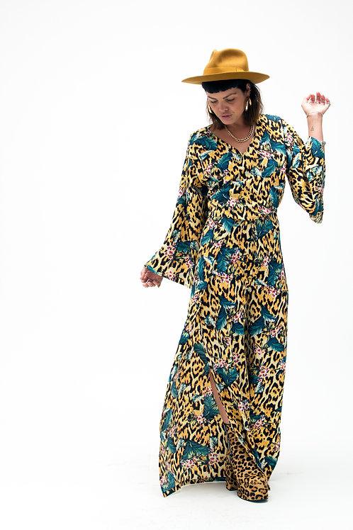 'Tallulah' Split Leg Trousers In Tropicana Print