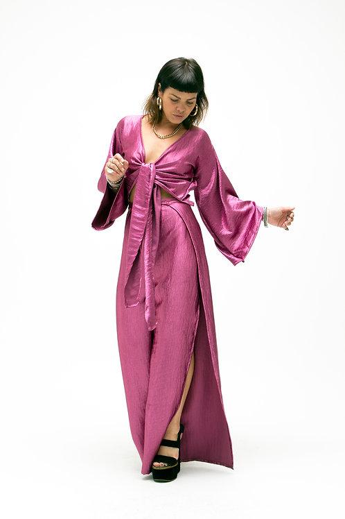 'Tallulah' Split Leg Trousers In Pink Crinkle