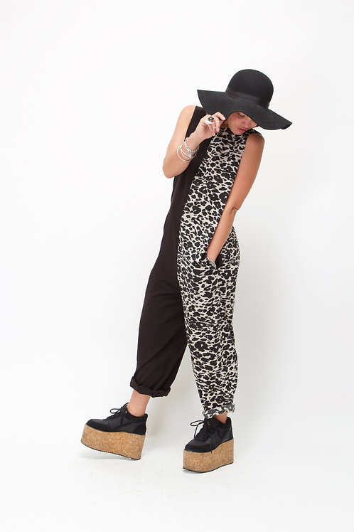 'Jemima' Jumpsuit Half N Half black & White Animal Print