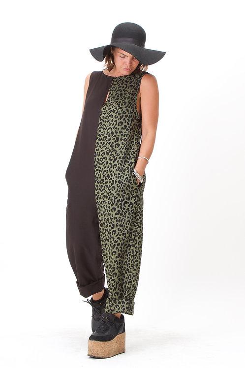 'Jemima' Jumpsuit Half N Half Khaki Leopard