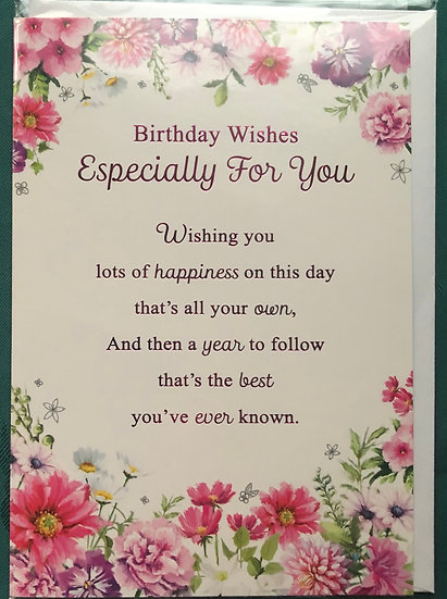 Floral Birthday card with verse (Wishing you lots of happiness)