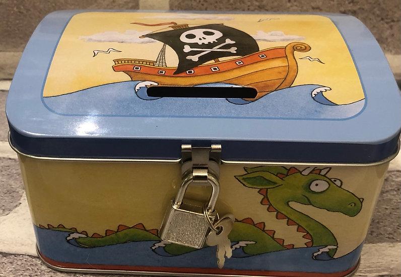 Tin Money Saver with Padlock  Pirate