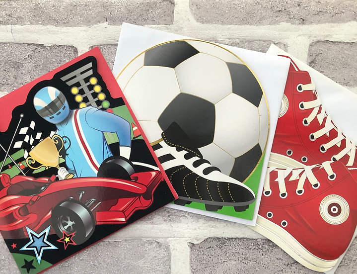 3 x Children's Cards -  (Racing Car, Football, Converse shoes)