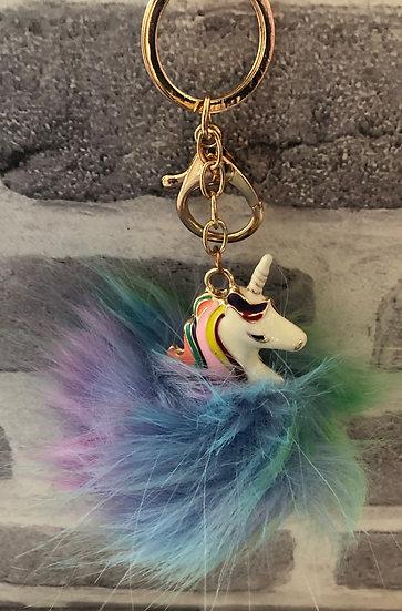 Pom Pom Unicorn Keyring