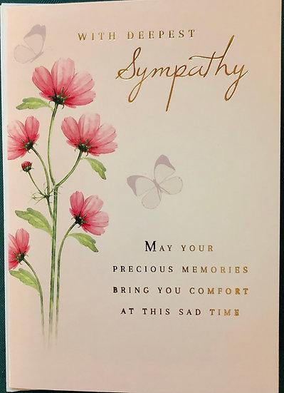 Sympathy Card - Floral- pink flower