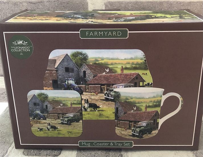 Farmyard/Landie Mug, Coaster and Tray