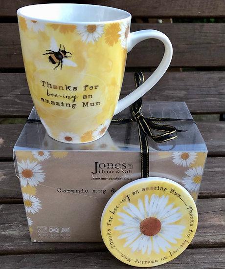 Bee - Mum mug and coaster
