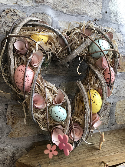 Hanging Easter heart wreath