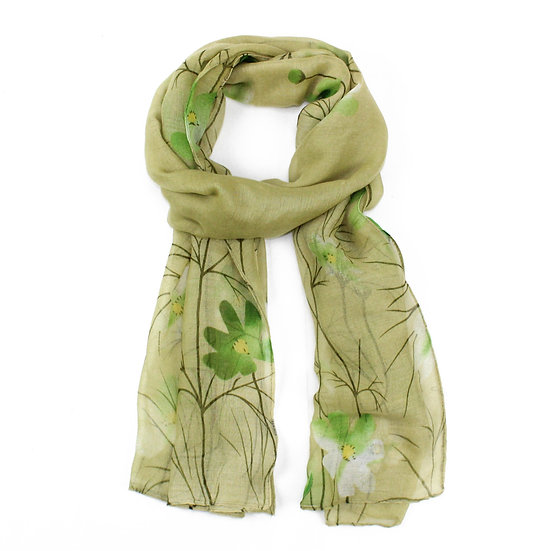 Summer scarf - Green floral - XS4302 C03