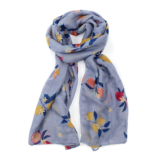 Summer scarf - Fruit tree - Grey