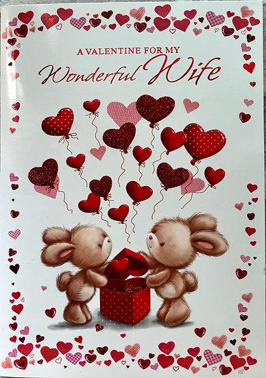 Valentines card - Wife - Cute bunnies