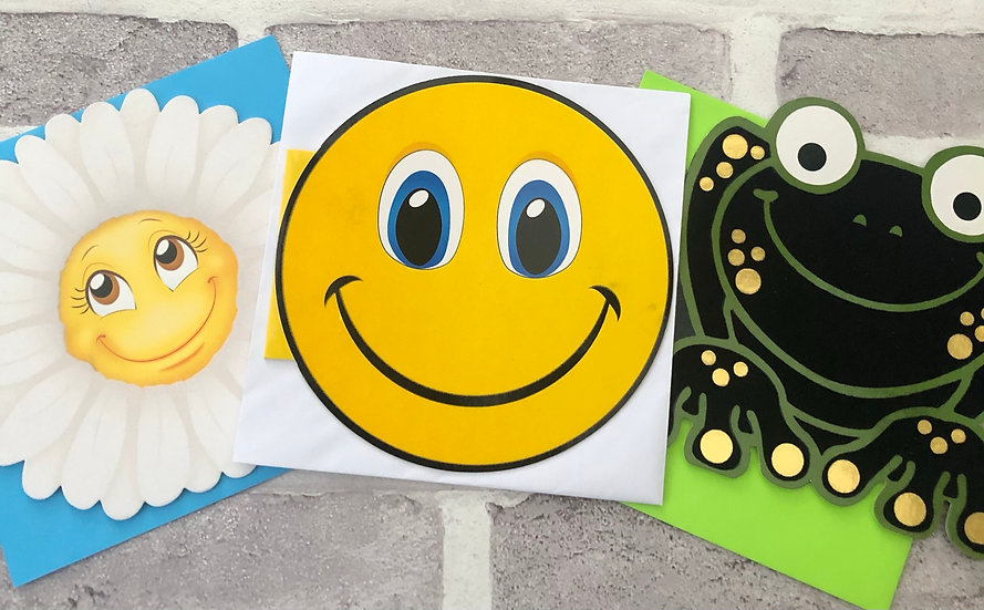 3 x Children's Cards -  (White flower, smiley,Frog