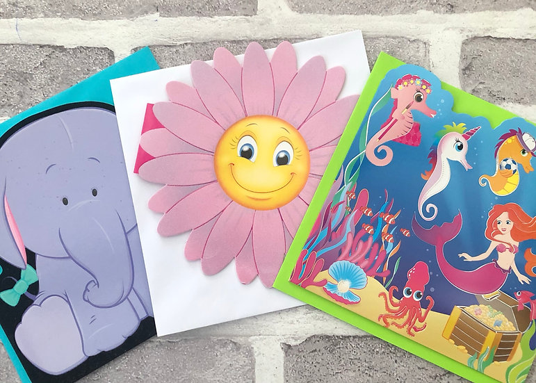 3 x Children's Cards -  (elephant,pink flower, mermaid)