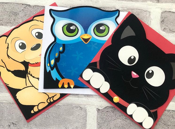 3 x Children's Cards - (Cream dog, Blue Owl, Black Cat)