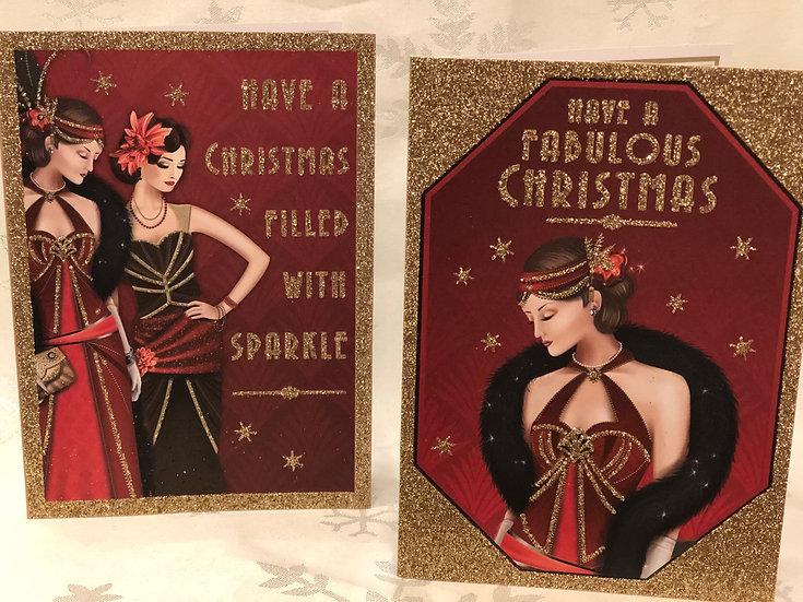 Christmas cards . Art deco style